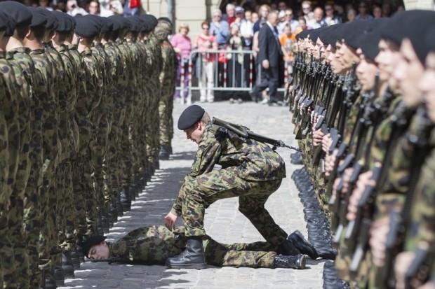 ein-soldat-der-ehrengarde-fuer-franois-hollande-erleidet-einen-schwaecheanfall-und-kippt-um--ein-kamerad-eilt-ihm-zu-hilfe-