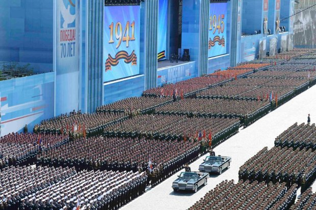 Russian Defence Minister Shoigu reviews troops during Victory Day parade at Red Square in Moscow