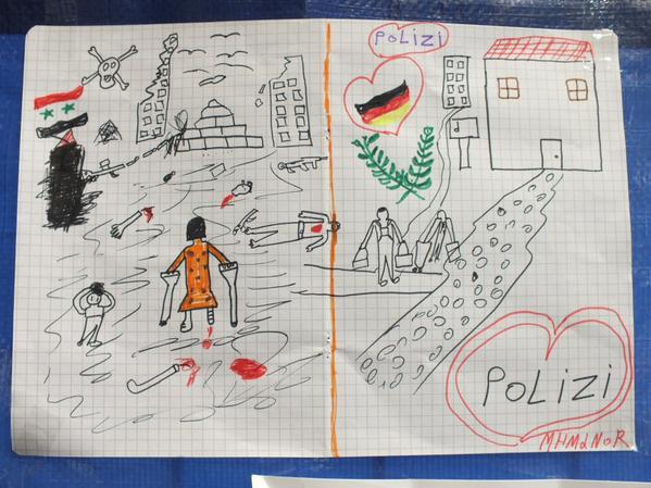 Zeichung Flüchtlingskind